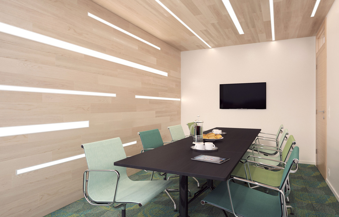 Conference Room with Quantum Channel 2 Recessed Fixtures in the wall and ceiling